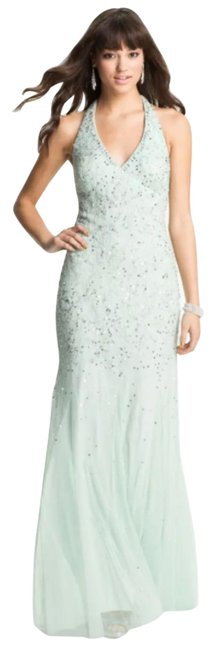 Item - Green Mint Beaded Mesh Halter Gown New Maxi Dre Long Formal Dress Size 6 (S)
