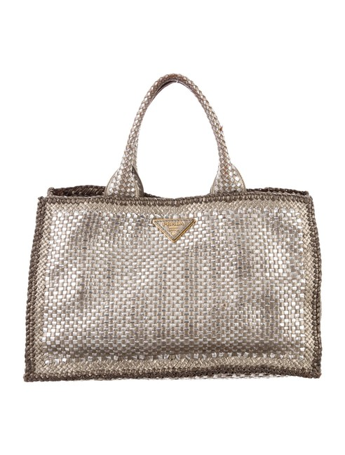Item - Metallic Woven Madras Silver Leather Tote