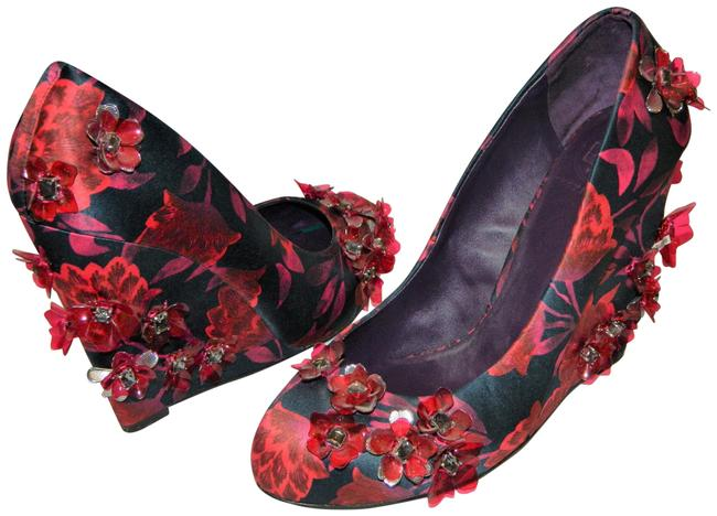 Tory Burch Fuchsia/Navy Floral Wedges Size US 9.5 Regular (M, B) Tory Burch Fuchsia/Navy Floral Wedges Size US 9.5 Regular (M, B) Image 1