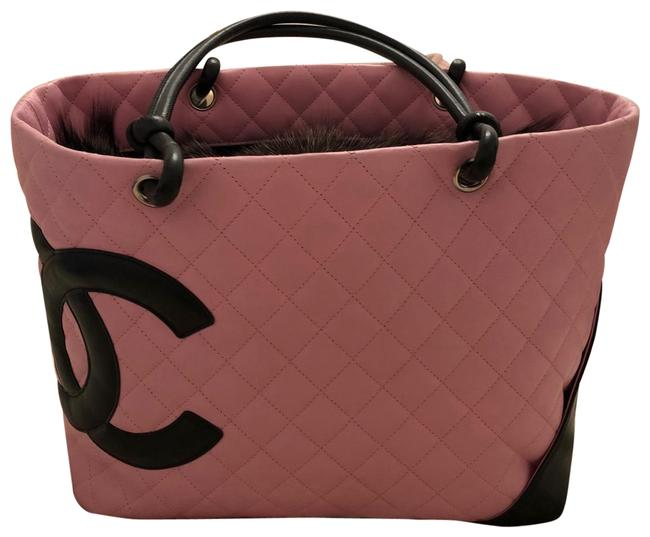 Item - Cambon Pink Lambskin Leather Tote