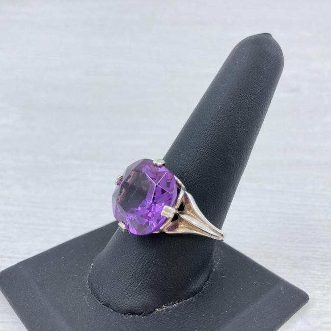 Item - Purple Sapphire Sterling Silver Size 10 1/4 Faceted Round Cut 14m Ring