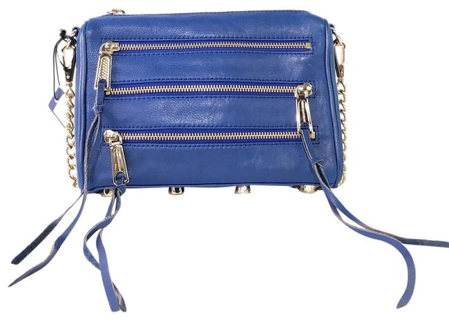Item - Mini 5 Zip Electric Blue Leather Cross Body Bag