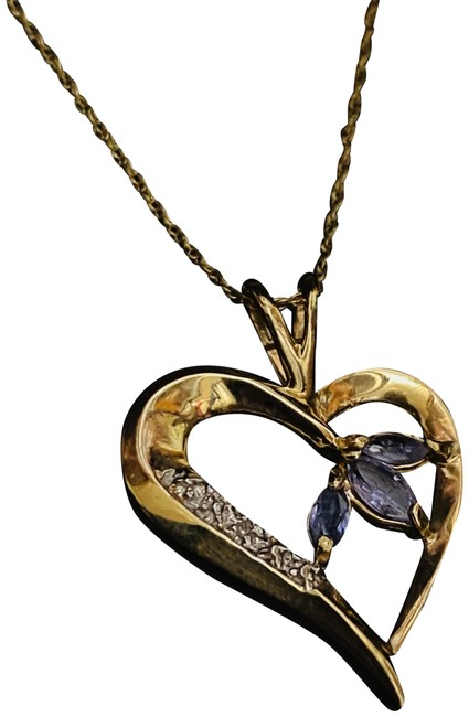 Item - Purple Gold 10k Tanzanite Solid Tanzanite Diamond Purp Necklace