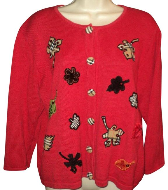 Item - Fall Themed Cardigan Leaf Designs Red Sweater