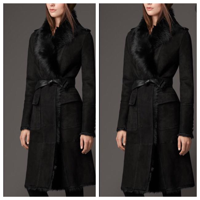 Item - Black Shearling Suede Trench Coat Size 6 (S)