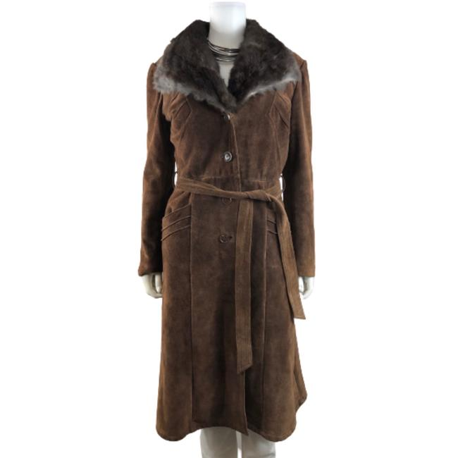 Item - Brown 70's • Penny Lane • Suede Leather & Rabbit Fur Trim Shearling Lined Belted • Mod / Boho / Hippie Coat Size 10 (M)