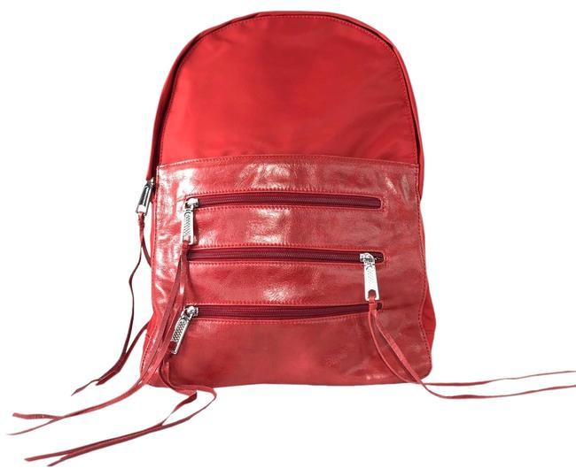 Item - Nylon Zip Red Leather Backpack