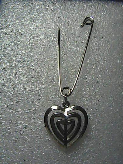 Vintage Silver Tone Safety Pin Heart Brooch