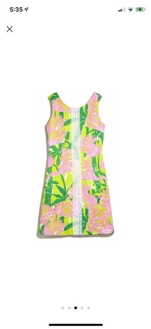 Item - Green & Pink For Target Fan Dance Sleeveless Shift Mid-length Cocktail Dress Size 4 (S)
