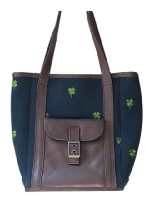 Item - Unused & Brown Purse with Green Shamrock Design Navy Blue Leather Tote