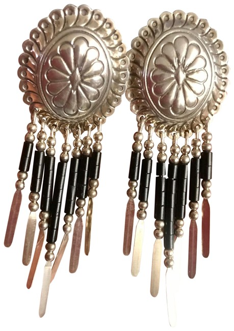 Item - Black Signed Native American Sterling Silver Fringed Concho with Onyx Earrings