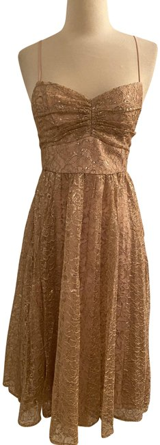 Item - Ashen Khaki Pleated A-line Midi In Metallic Lace. Mid-length Cocktail Dress Size 0 (XS)