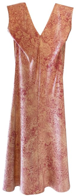 Item - Beige and Burgundy Silk Mid-length Cocktail Dress Size 2 (XS)