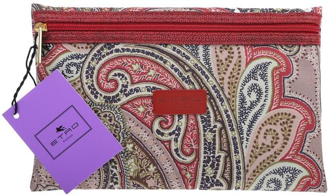 Item - Multicolor New Paisley Techno Fabric Logo Pouch Cosmetic Bag