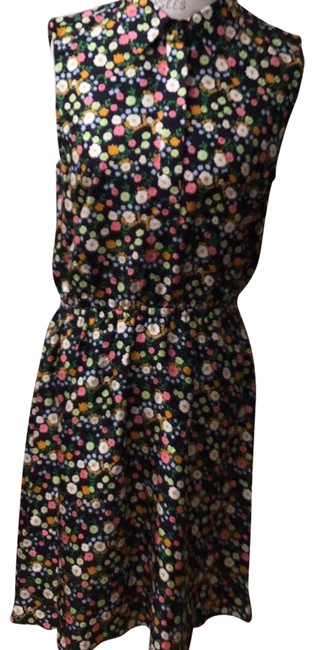 Item - Black Floral Shipped Plastic Tagged Short Casual Dress Size 8 (M)