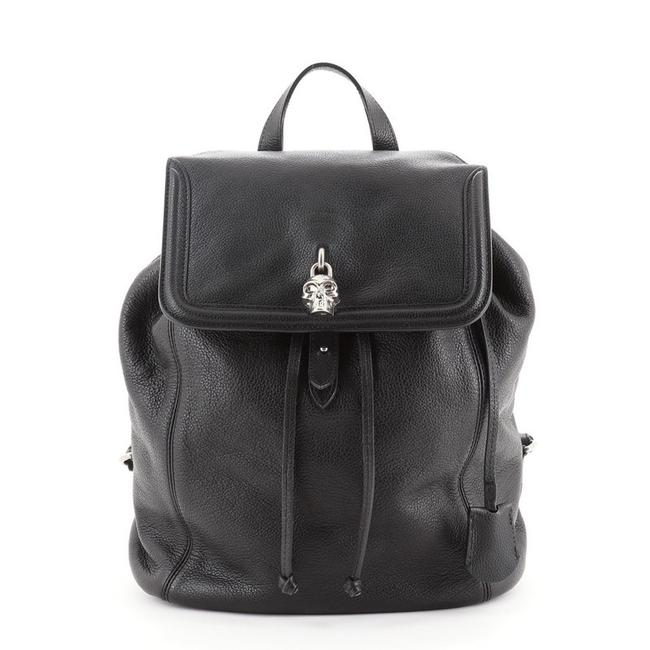 Item - Skull Padlock Large Black Leather Backpack