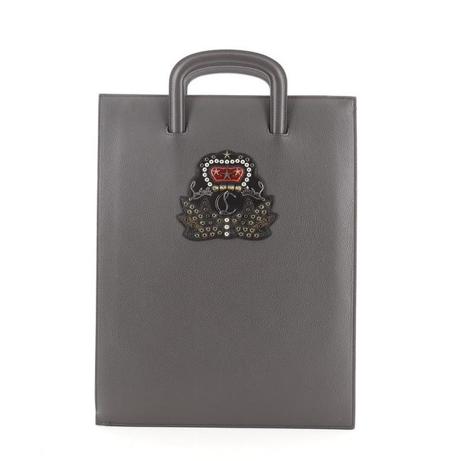Item - Portfolio Trictrac Embroidered Studded Large Gray Leather Satchel