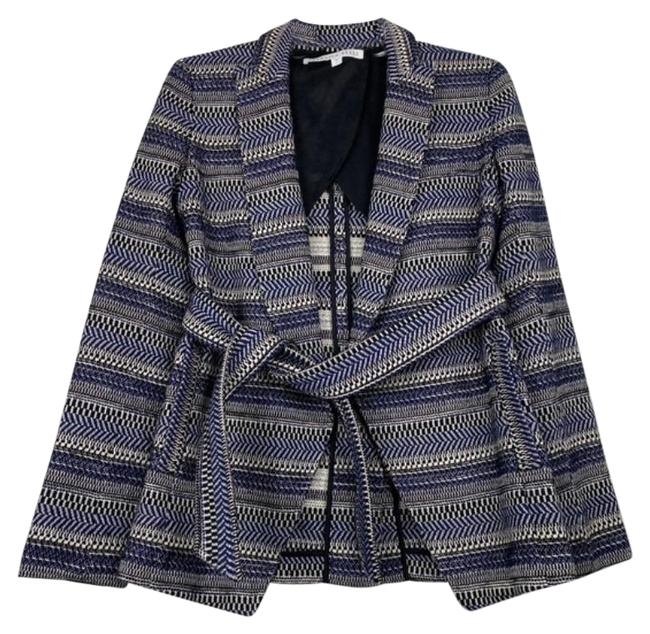 Item - Blue Belted Tweed Open Jacket Size 2 (XS)