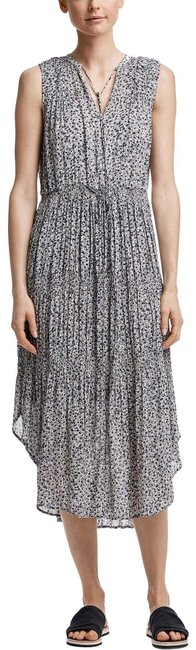 Item - Gray Blue Floral Pleated Midi In North/ Pearl Long Casual Maxi Dress Size 0 (XS)