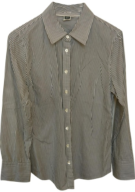 Item - Black and White Striped Classic Button- Up Shirt Button-down Top Size 8 (M)