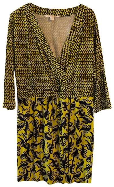 Item - Yellow/Blue Printed Short Casual Dress Size 12 (L)