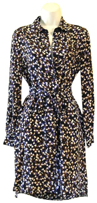 Item - Multicolor Printed Belted Button Down Silk Mid-length Short Casual Dress Size 4 (S)