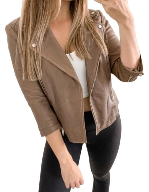Item - Brown Cropped Cargo Leather Biker Jacket Size 2 (XS)