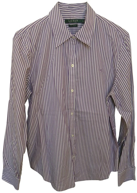 Item - Purple and White Striped Button-down Top Size 8 (M)