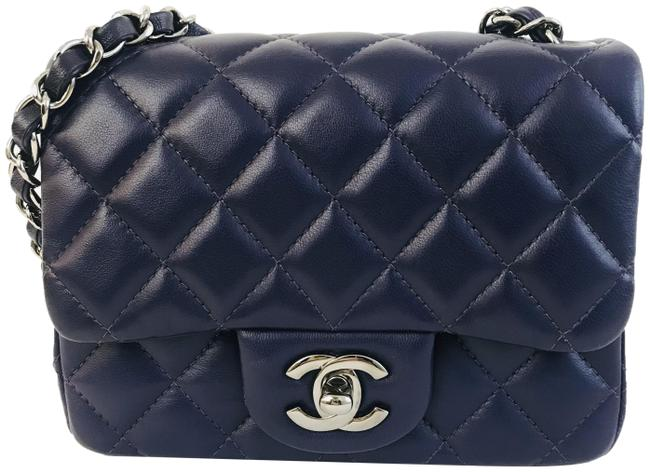 Item - Classic Lambskin Quilted Mini Square Flap Purple Leather Shoulder Bag