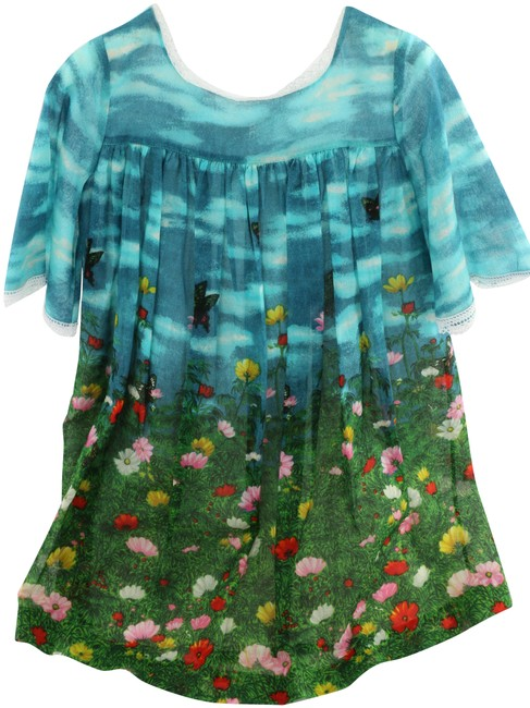 Item - Multicolor Kids Patterned Pleated Mid-length Short Casual Dress Size 4 (S)