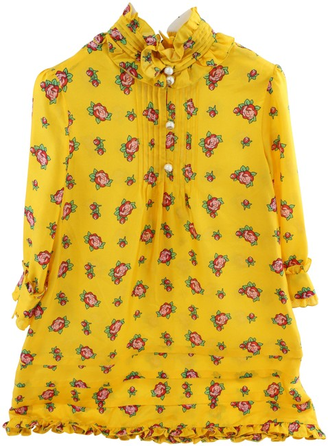 Item - Yellow Girl's with Rose Buds Short Casual Dress Size 4 (S)