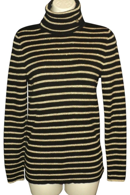 Item - Metallic Horizontal Stripes Turtleneck Black & Gold Sweater