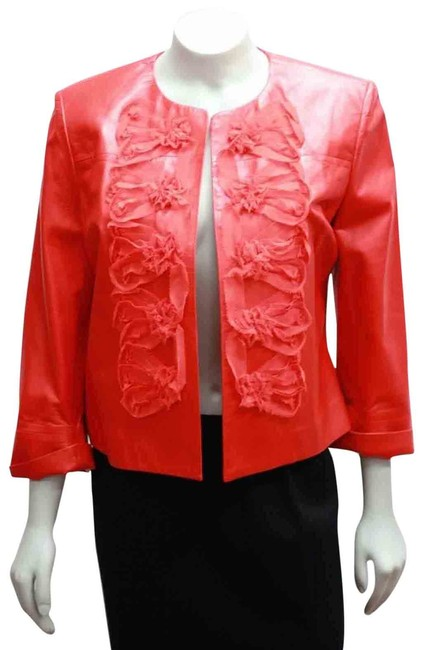 Item - Red New Soca Coral Lamb Frayed Ruffles Large Jacket Size 12 (L)