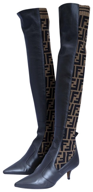 Item - Brown/Black Zucca Thigh High Over The Knee Leather Boots/Booties Size EU 36.5 (Approx. US 6.5) Regular (M, B)