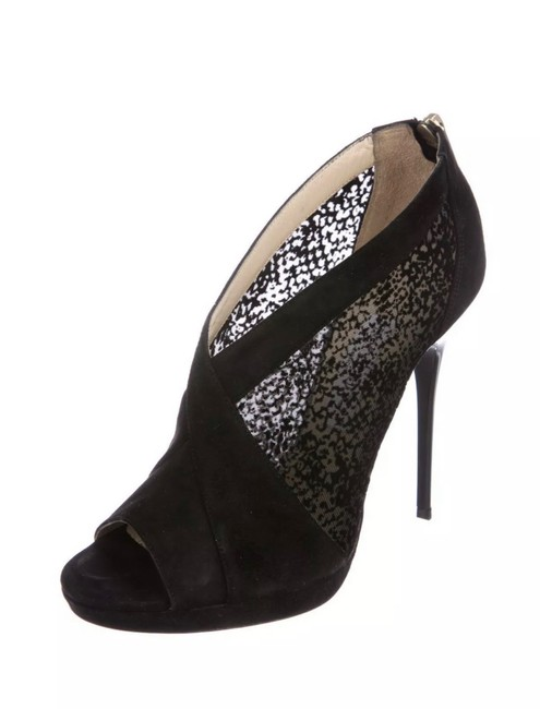 Item - Black Suede and Mesh Peep-toe Boots/Booties Size EU 40 (Approx. US 10) Regular (M, B)