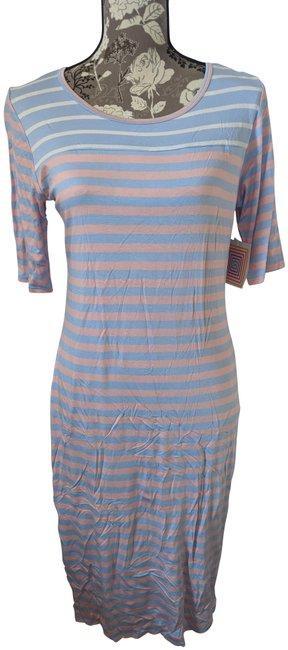 Item - Peach and Blue Stripe Julia Mid-length Short Casual Dress Size 8 (M)