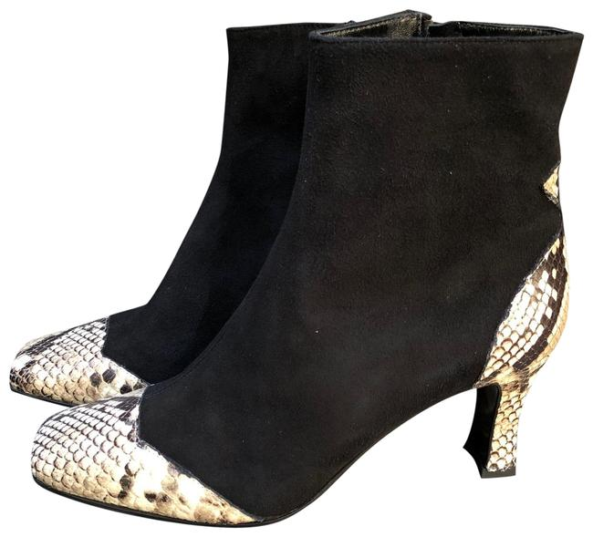 Item - Black Leopard New Square Toe Python Embossed Leather Suede Ankle Boots/Booties Size EU 37 (Approx. US 7) Regular (M, B)