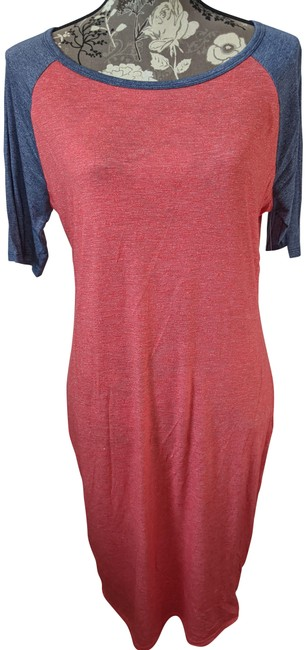 Item - Red and Blue Julia Mid-length Short Casual Dress Size 12 (L)
