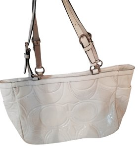 Coach Patent Leather Tote in White