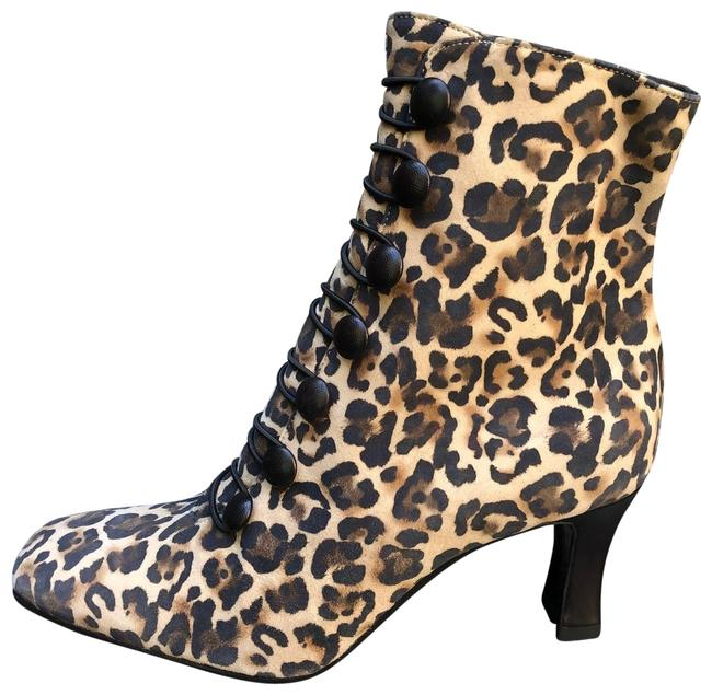 Item - Leopard New Print Square Toe Leather Ankle Boots/Booties Size EU 38.5 (Approx. US 8.5) Regular (M, B)