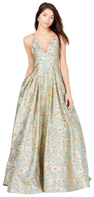 Item - Cream/Gold Say Yes To The Prom Juniors' Metallic-print Ballgown 9/10 Long Formal Dress Size 8 (M)