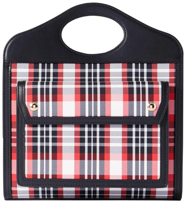 Item - Leather-trimmed Checked Red Canvas Tote