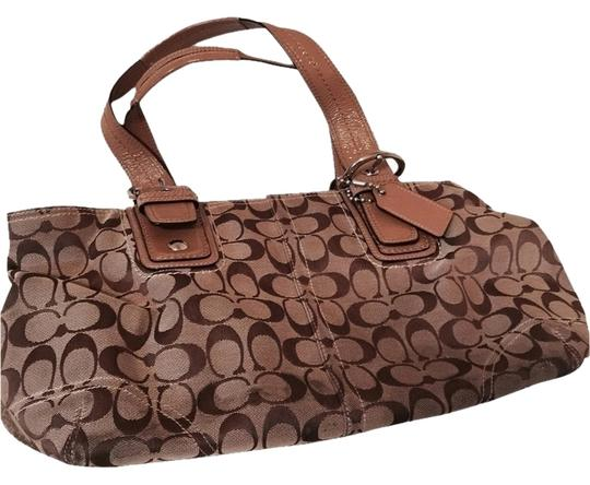 Preload https://item4.tradesy.com/images/coach-brown-and-tan-fabric-leather-tote-2820238-0-0.jpg?width=440&height=440