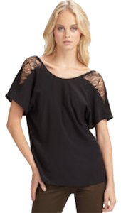 Madison Marcus Short Sleeve Designer Day To Night Top Black