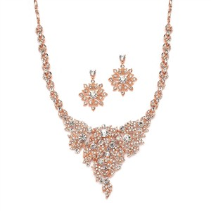 Mariell Rose Gold Statement Necklace And Earrings