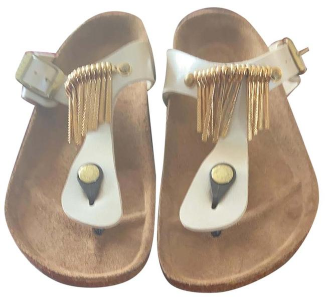 Item - Leather Birko-flor Cream Vixen Fringe Sandals Size US 8 Regular (M, B)