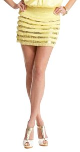 BEBE Mini Ruffle Sequin Mini Skirt BEIGE