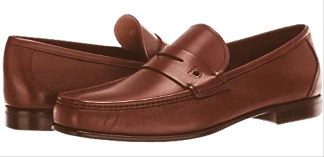 Item - Brown Men's Loafers Gancio Logo Chocolate Flats Size US 7 Extra Wide (Ww, Ee)