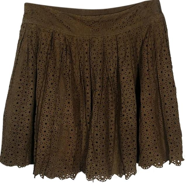 Item - Green Brown Laser Cut Suede Skirt Size 2 (XS, 26)