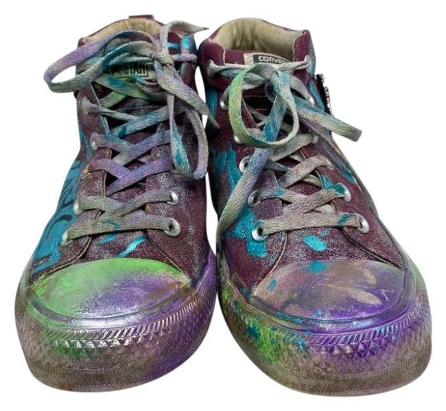 Item - Purple Green Brown Graffiti Customized with Multicolor Womens Sneakers Size US 10.5 Regular (M, B)